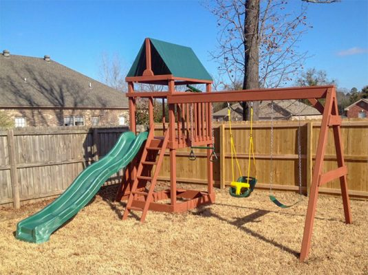 wooden playset in floral ar