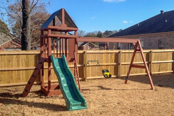 wooden playset in pleasant plains ar